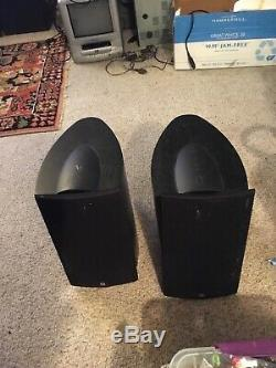 Set 2 KEF IQ 1 Series Bookshelf Speakers Black Finish Cabinet Cable