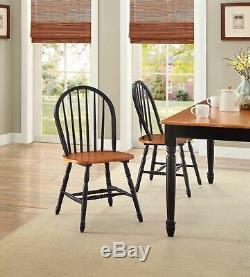 Set 2 Windsor Dining Chairs Oak Black Finish Wood High Back Kitchen Furniture