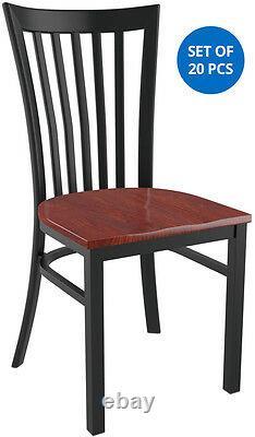 Set of 20 xElongated Vertical Back Metal Restaurant Chair Black Finish Wood Seat