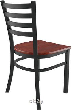 Set of 20 x Metal Ladder Back Restaurant Chair Black Finish Mahogany Wood Seat