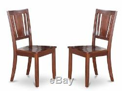 Set of 2 Dudley dinette kitchen dining chairs with leather seat in black finish