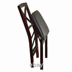 Set of 2 Foldable Dining Chairs Wooden Frame Upholstered Seat Espresso Finish
