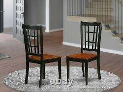Set of 2 Nicoli kitchen dining chairs with faux leather padded seat black finish