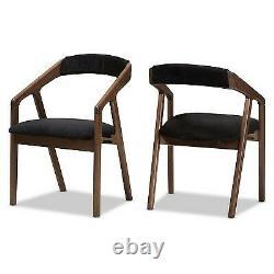 Set of 2 Wendy Midcentury Modern Velvet Wood Finishing Dining Chairs