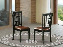 Set of 6 Nicoli kitchen dining chairs with faux leather padded seat black finish