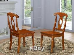 Set of 6 dinette kitchen dining chairs with wood seat in black & cherry finish