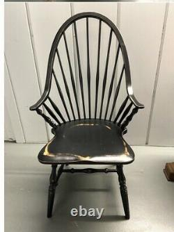 Set of 8 Windsor Dining Chairs Black Weathered Finish 2 Arm Solid Wood
