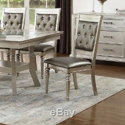 Silver Finish 7pc Dining Set Dining Table Black Seat Accent Tufted Back Chairs