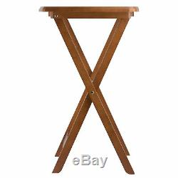 Teak Finish 5 pc Wooden Tray Table Set Folding Portable Snack Stand TV Dinner