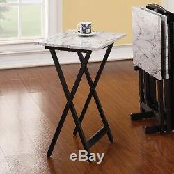Tray Table Set Folding White Faux Marble 5 Piece Snack Laptop Furniture Stand