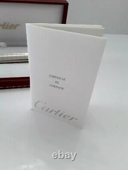Unique Cartier Pasha Platinum Finish Ballpoint Pen & Leather Pen Holder Set NIB