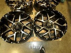 Used set of Vision 360 Sliver 20x10 6-5.5(-29) gloss black & machine finish