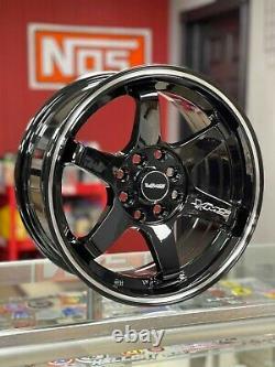 VMS Racing 15X7 4X100 4x114 Offset 30 Gloss Black Milling Finish Set of 4 Wheels