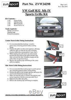 VW Golf MarkIV R32 Lower Grille Set Black finish (1998 to 2004)