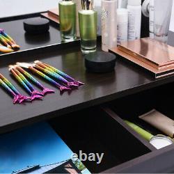 Vanity Makeup Table Stool Set with 12 Led Lighted Mirror Hollywood Dresser Desk