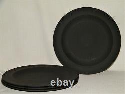 Vtg 60's Set (4) WEDGWOOD BASALT BLACK DESSERT/SALAD PLATES All Matte FinishEX