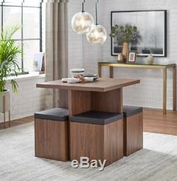 Walnut Brown 5 Piece Dining Set Storage Ottomans Space Flat Table Kitchen Finish