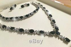 White gold finish black onyx and created diamonds Necklace earrings bracelet set