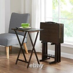 Wooden Finish 5 pc Wooden Tray Table Set Folding Portable Stand TV Dinner Snack