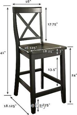 X-back Bar Stool In Black Finish With 24 Inch Seat Height. (set Of Two)